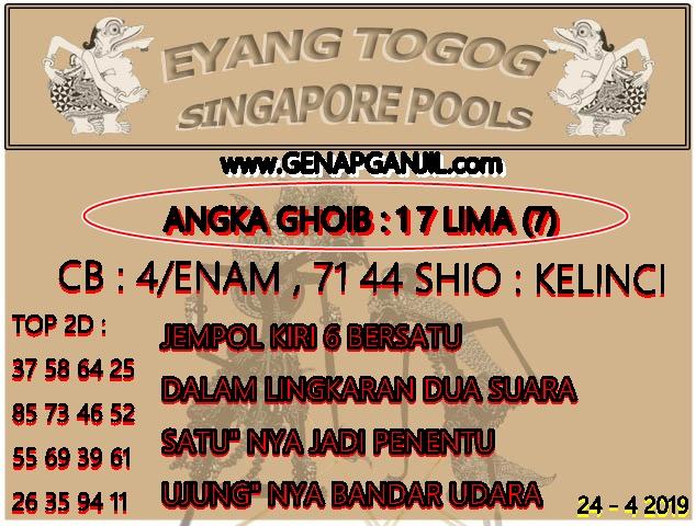 Prediksi Eyang Togog Singapore Pools 24 APRIL 2019