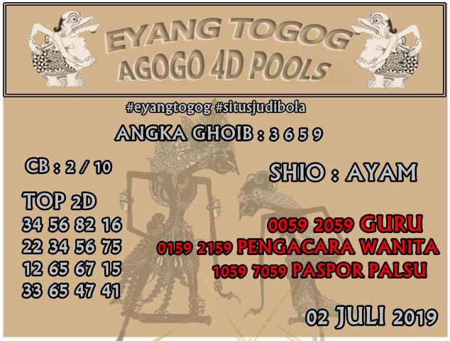 PREDIKSI TOGEL AGOGO4D POOLS 02 JULI 2019