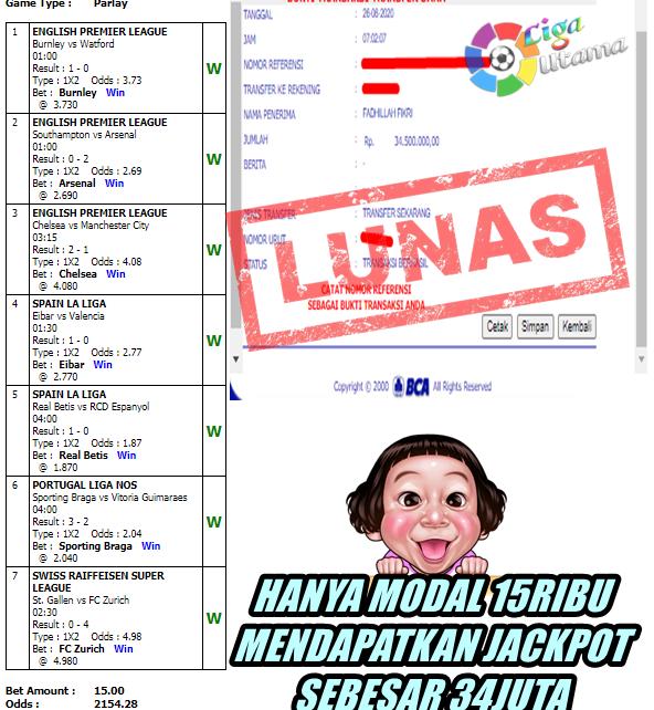 Member Liga Utama Mendapatkan Jackpot PARLAY
