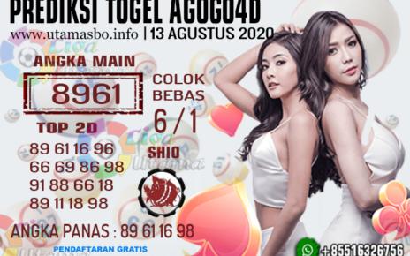 Prediksi Togel AGOGO4D 13 AGUSTUS 2020