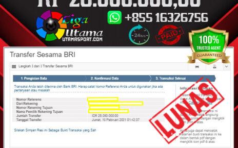 BUKTI JACKPOT LIGA UTAMA 19 FEB 2021