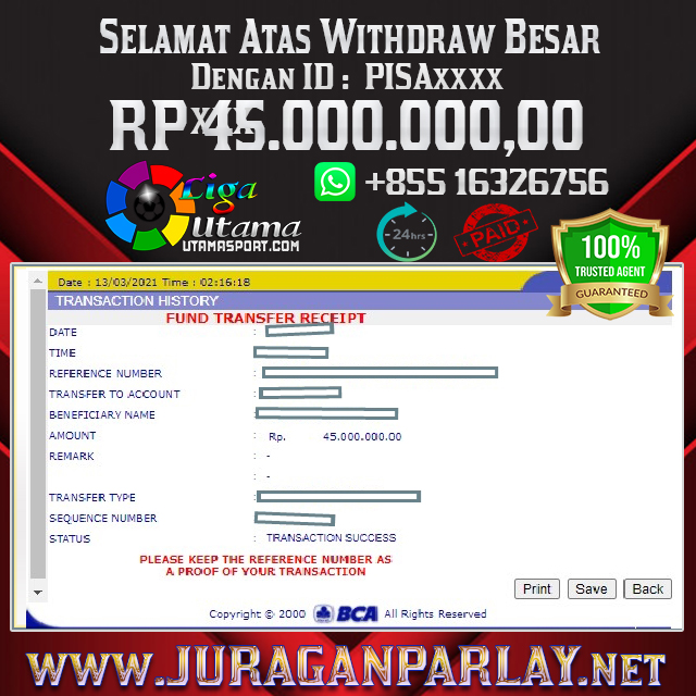 BUKTI WITHDRAW LIGA UTAMA 13 MAR 2021