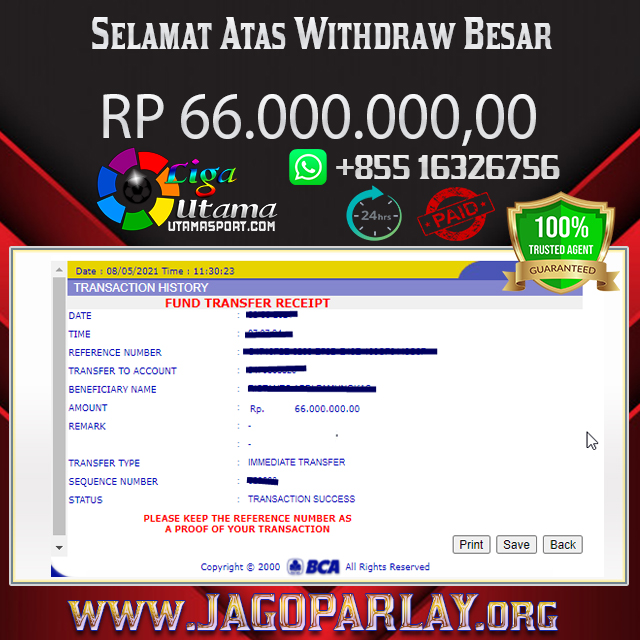 BUKTI WITHDRAW MEMBER LIGA UTAMA 8 MAY 2021
